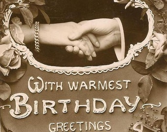 EAS Vintage Birthday Postcard RPPC Handshake and Roses E A Schwerdtfeger
