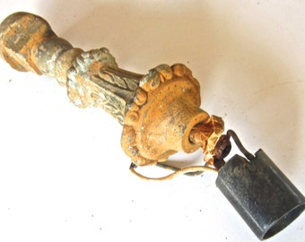Rusty Vintage Brass Lamp Stem - Broken Salvaged Lamp Parts - Ornate Metal - Steampunk Sculpture Supply - Fresh Los Angeles Find