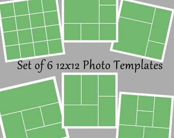 Set of 6 12x12 Photo Template Collage Story Board Layered PSD Files Photography Templates  - Instant Download No 19-24