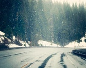 Winter Road, Snow, Winter Green, Trees, Icey, Winter Decor, Landscape Photography, Travel, Grey, White, 8x10 Print - BreeMadden