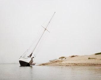 "Photography, Nautical Photography, Nautical Decor, Sailboat Photograph, Morro Bay California, Foggy Ocean Sea, Gray White Black ""Shipwreck"""