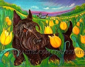 Scottie painting art yellow Tulips ORIGINAL Dog Art Painting Scottie Scottish Terrier