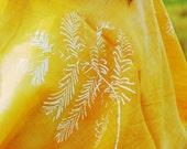 Fern Print Bright Yellow Scarf