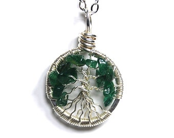 Miniature Small Tiny Tree of Life Necklace in Sterling Silver and Aventurine Stone.