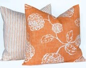 Autumn Pillows Orange Throw Pillows Fall Decor Floral Stripe Home and Living Pillow Covers 20 x 20 Inches Pair of Two Designer Housewares