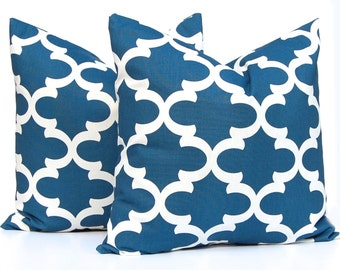 Cadet Blue Pillow Covers - Decorative Throw Pillow - Blue Cushion Covers - Moroccan Tile Pillow Covers - Throw Pillow Covers