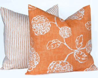 Orange Pillow Covers, Euro Shams, Fall Pillow Covers, Orange Shams, Decorative Throw Pillow Covers, Orange Floral and Stripe