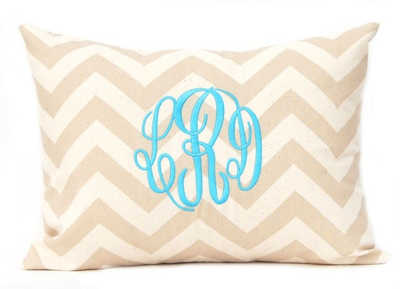 Decorative Pillows With Monogram : Monogram Pillow Cover Tan Chevron Pillow Cover with Script