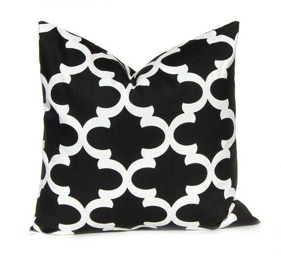 Items similar to Black Pillow Cover - Decorative Pillow Cover - Black and White Throw Pillow ...