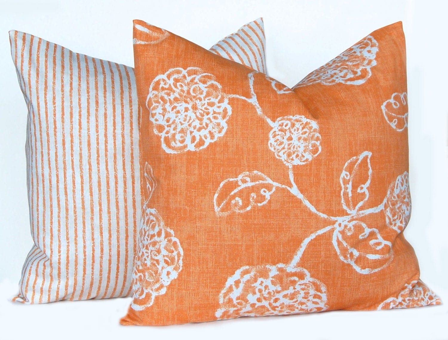 Autumn Pillows Orange Throw Pillows Fall Decor Floral Stripe