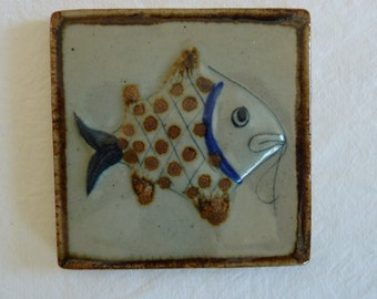 Vintage Pottery Wall Hanging with Fish Design - Home Decor - Collectible - Artist Signed