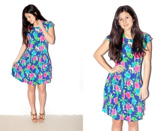 SALE ///////// Bright Fun Floral Drop-Waist Dress S/M