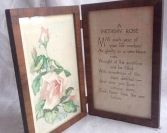 vintage rose print 1920 birthday poem art