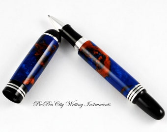 Sterling Silver Plated Red on Blue Rollerball Pen