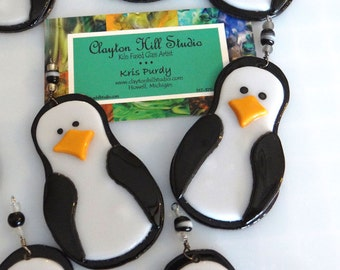 Penguin Ornament - Fused Glass