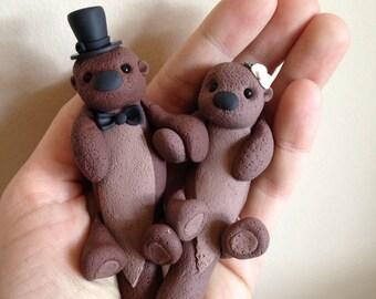 Sea Otters custom wedding cake topper