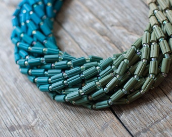 Ombre Statement Necklace - Teal Green Blue Aqua Gradient Colors, Ombre Jewelry, Unique Jewelry