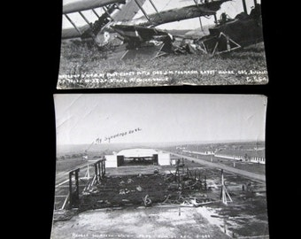 "Two Vintage Military Plane  Photos  Biplane Crash Approx  6 1/2"" x 9""  1920's Silver Gelatin Hangar Texas"
