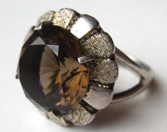 Vintage 50s Smokey Topaz Faceted Sterling Silver Over the Top Cocktail Ring size 7