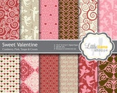 Valentine's Digital Scrapbook Paper, Cupids, Hearts, Love, Brocade, Swirls, Pink and Red, INSTANT DOWNLOAD, 8.5x11 and 12x12