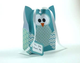 DIY Owl Gift Bag Template - Turquoise & Seafoam Green - Party Favor Template