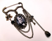 Vintage Style Brooch Pin - The Poet - Edgar Allan Poe Daguerrotype Black & White in Antiqued Brass Setting - Handmade Picture Cameo Gothic