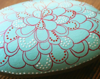 Merigold or an Ocean Anemone in Aqua,  glitter red and white