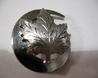 Vintage Silver Tone Brooch with Maple Leaf Motif