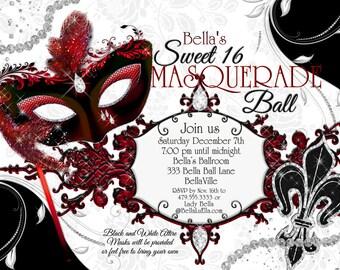 Masquerade Party Invitation, Mardi Gras Party, Party Invitations, Masquerade Invitations