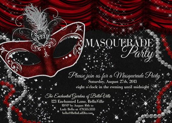 masquerade party invitation, mardi gras party, party invitations, Party invitations