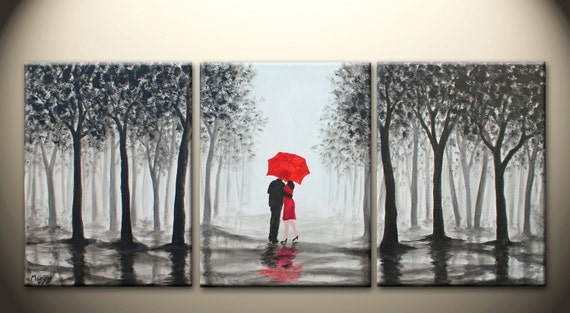 Original Abstract Painting Kissing In Rain Black White By Maggyart