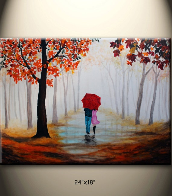 Original Abstract Painting Walking In Rainred Umbrellamisty