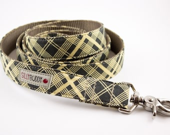 Charcoal Vintage Plaid Dog Leash