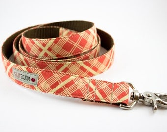Orange Vintage Plaid Dog Leash