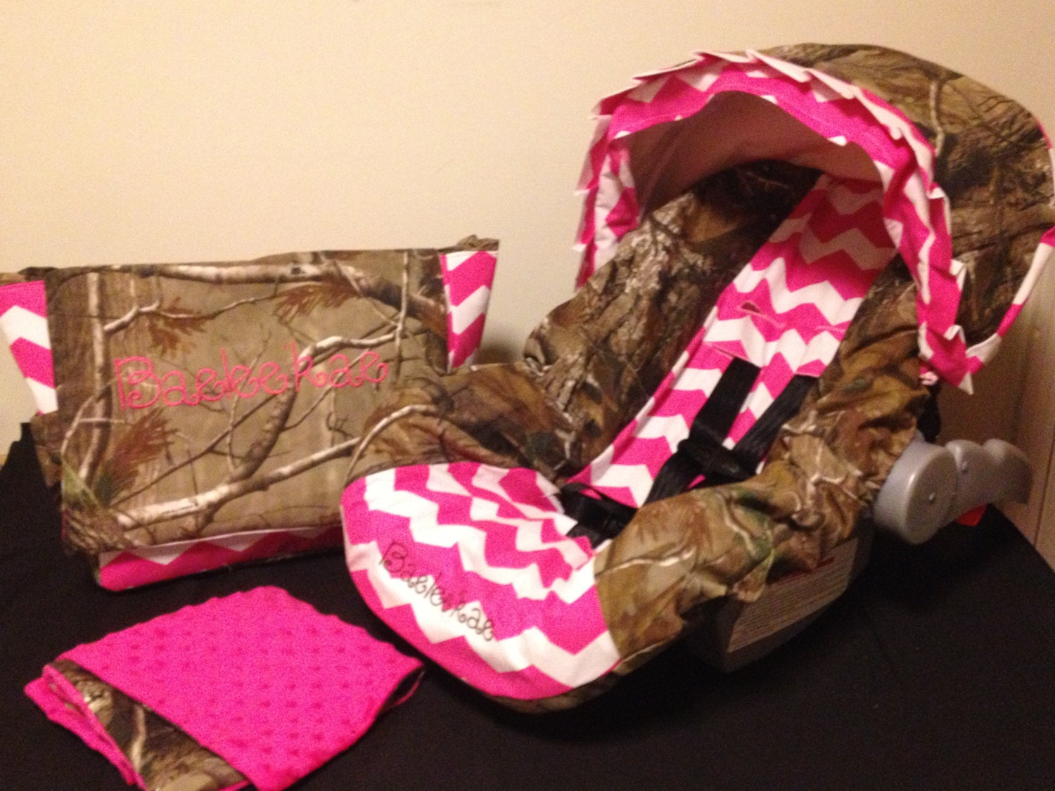 3 Piece Set Pink Chevron Amp Realtree Camo Fabric Infant Car