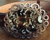 Natural Reeves Pheasant Feathers Belt Buckle