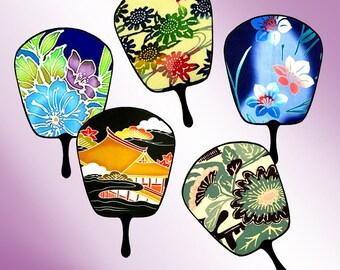 Digital Collage Sheet - Digital Art -  Asian - Fans - Instant Download -  Embellishments - Scrapbooking - Japanese Designs - CS 24