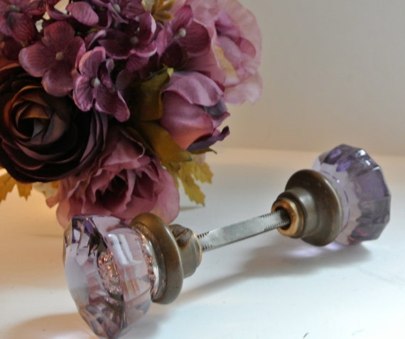 Antique Purple Crystal Glass Door Knob Set