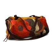 Vintage Patchwork LEATHER Duffle Bag Suitcase Carryon