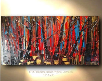 ORIGINAL Landscape Painting 24x48 Red Coral Blue Black Gold metallic Birch Aspen Tree Oil Abstract Texture Artwork Fine art canvas by OTO
