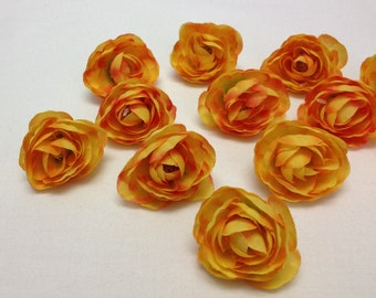 Silk Flowers - 12 Artificial Mini Ranunculus in Yellow Orange - 1.5 Inches - Artificial Flowers