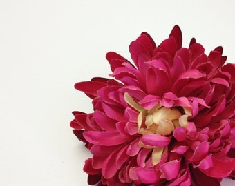 Silk Flowers - One Jumbo Strawberry Pink Mum ON A CLIP - 5.5 Inches - Artificial Flowers