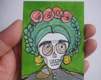 Frida Skull Lime- aceo original drawing