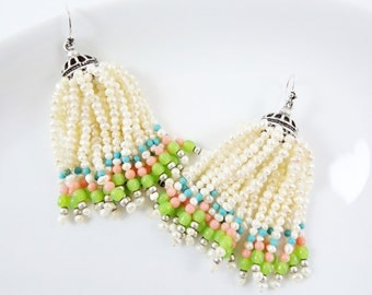 Freshwater Pearl Beaded Tassel Dangly Statement Earrings - Sterling Silver Earwire