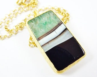 Teal Green Black Agate Gemstone Necklace - Choose From 18'' 24'' or 30'' inch Chain