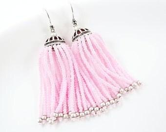 Soft Pink Beaded Tassel Dangly Statement Earrings - Sterling Silver Earwire