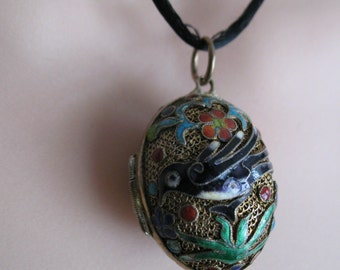 Chinese Mesh and Cloisonne Perfume Pendant