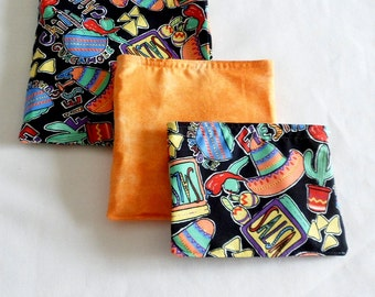 Reusable Fabric Bags , Set of Three Cotton Bags , Lunch Bags, Small Item Bags For  Crafts  Work School Play , Southwest Fabric