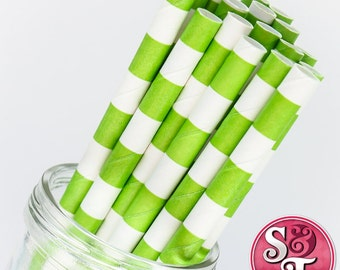 Rugby Stripe Lime Green Party Paper Straws - Cake Pop Sticks - Pixie Sticks - Qty 25