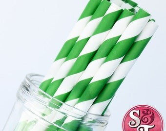 Stripe Green Party Paper Straws - Cake Pop Sticks - Pixie Sticks - Qty 25